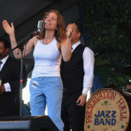 NEW ORLEANS, LA - MAY 06:  Ani DiFranco sits in with The Preservation Hall Jazz Band during there 50th. Annversary performance at the 2012 New Orleans Jazz & Heritage Festival Day 7 at the Fair Grounds Race Course on May 6, 2012 in New Orleans, Louisiana.  (Photo by Rick Diamond/Getty Images)