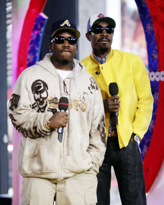 Actor/rappers Antwan A. (Big Boi) Patton (L) and Andre (Andre 3000) Benjamin of Outkast appear onstage during MTV's Total Request Live at the MTV Times Square Studios on August 22, 2006 in New York City.