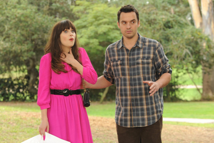 """NEW GIRL:  Jess (Zooey Deschanel, L) thinks Nick (Jake Johnson, R) organized a party for her at the local park in the """"Birthday"""" episode of NEW GIRL."""