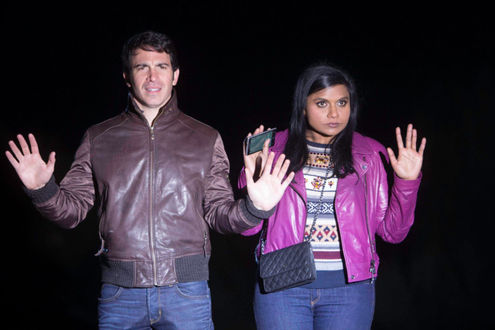 """THE MINDY PROJECT:  Mindy (Mindy Kaling, R) and Danny (Chris Messina, L) run into trouble, in the """"The Desert"""" episode of THE MINDY PROJECT airing Tuesday, Jan. 21 (9:30-10:00 PM ET/PT) on FOX.  ©2013 Fox Broadcasting Co."""