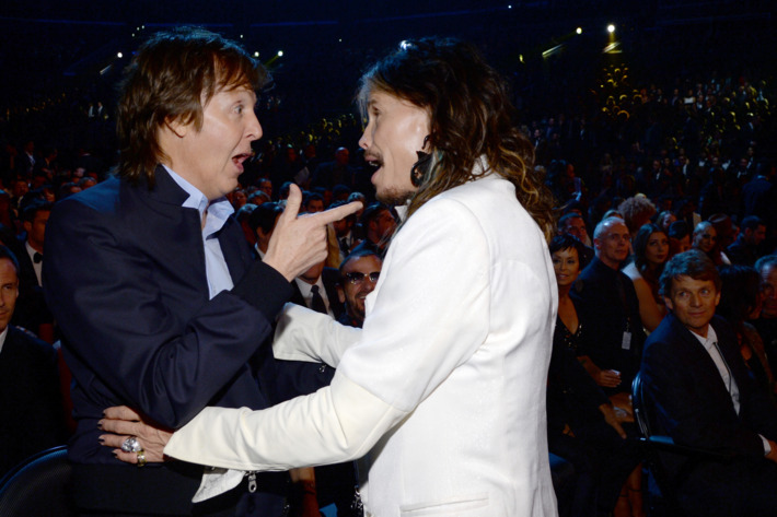 Recording artists Paul McCartney and Steven Tyler attend the 56th GRAMMY Awards at Staples Center on January 26, 2014 in Los Angeles, California.