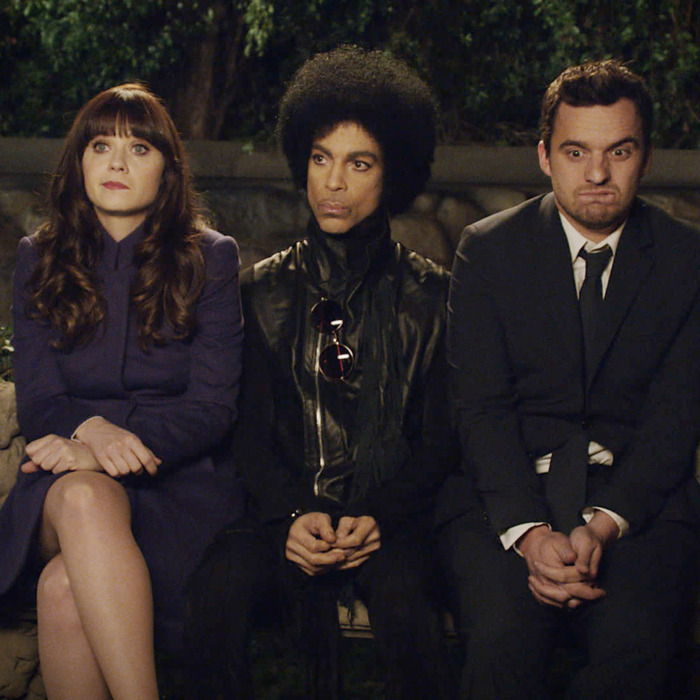 NEW GIRL: Music royalty Prince (C) makes a special guest appearance