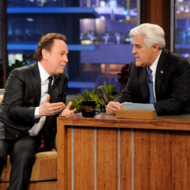 """BURBANK, CA - FEBRUARY 06:  Actor Billy Crystal (L) and comedian Jay Leno appear onstage during a commercial break on the final episode of """"The Tonight Show with Jay Leno"""" at The Burbank Studios on February 6, 2014 in Burbank, California.  (Photo by Kevin Winter/Getty Images)"""