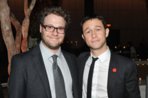 "NEW YORK, NY - SEPTEMBER 26:  Seth Rogen and Joseph Gordon-Levitt attend the after party for the premiere of ""50/50"" at the Four Seasons Restaurant on September 26, 2011 in New York City.  (Photo by Theo Wargo/Getty Images)"