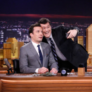 THE TONIGHT SHOW STARRING JIMMY FALLON -- Episode 0001 -- Pictured: (l-r) Jimmy Fallon, Stephen Colbert -- (Photo by: Lloyd Bishop/NBC)