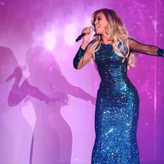 LONDON, ENGLAND - FEBRUARY 19: Beyonce performs at The BRIT Awards 2014 at 02 Arena on February 19, 2014 in London, England. (Photo by Karwai Tang/WireImage)
