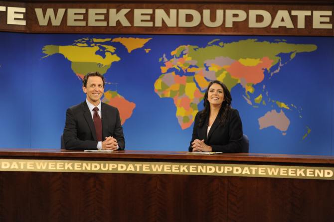 "SATURDAY NIGHT LIVE -- ""Kerry Washington"" Episode 1646 -- Pictured: (l-r) Seth Meyers, Cecily Strong -- (Photo by: Dana Edelson/NBC/NBCU Photo Bank)"