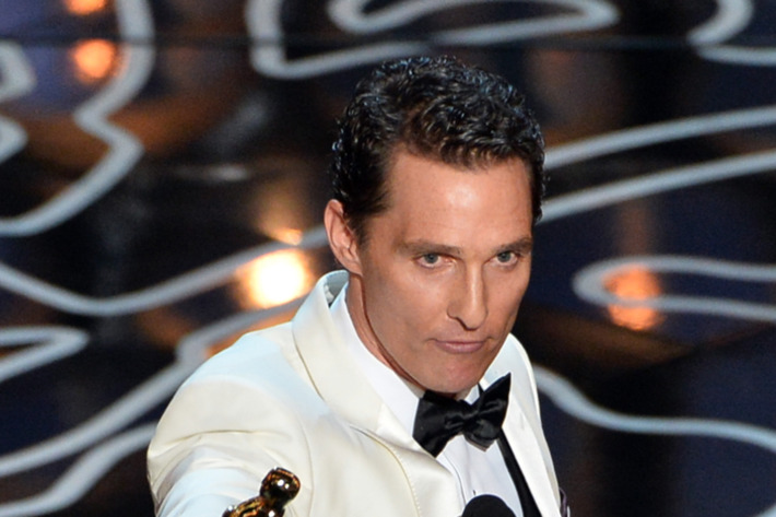HOLLYWOOD, CA - MARCH 02:  Actor Matthew McConaughey accepts the Best Performance by an Actor in a Leading Role award for 'Dallas Buyers Club' onstage during the Oscars at the Dolby Theatre on March 2, 2014 in Hollywood, California.  (Photo by Kevin Winter/Getty Images)