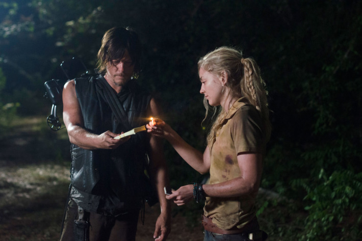 Daryl Dixon (Norman Reedus) and Beth Greene (Emily Kinney) - The Walking Dead _ Season 4, Episode 12 - Photo Credit: Gene Page/AMC