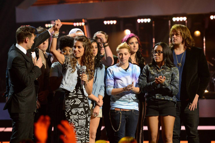 Emily Piriz (second from left) is eliminated on AMERICAN IDOL XIII