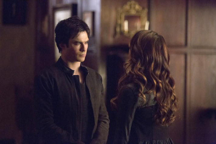 """The Vampire Diaries -- """"Gone Girl"""" -- Image Number: VD515a_0065.jpg -- Pictured (L-R): Ian Somerhalder as Damon and Nina Dobrev as Katherine (back to camera) -- Photo: Blake Tyers/The CW -- © 2014 The CW Network, LLC. All rights reserved"""