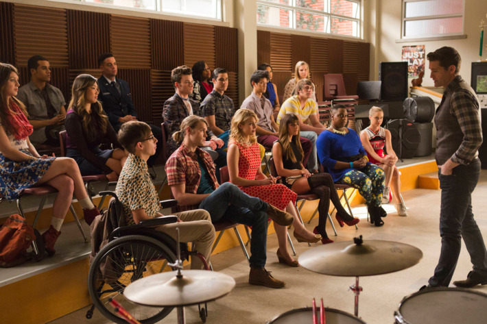 "GLEE: Will (Matthew Morrison) addresses the new and old kids in the glee club in the ""100"" episode of GLEE airing Tuesday, March 18 (8:00-9:00 PM ET/PT) on FOX. ©2014 Fox Broadcasting Co. CR: Adam Rose/FOX"