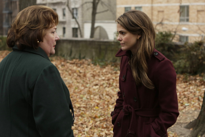 "THE AMERICANS -- ""A Little Night Music"" -- Episode 4 (Airs Wednesday, March 19, 10:00 PM e/p) -- Pictured: (L-R) Margo Martindale as Claudia, Keri Russell as Elizabeth Jennings -- CR: Patrick Harbron/FX"