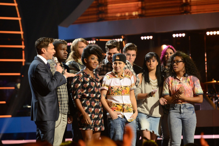 MK Nobillette (C) is eliminated on AMERICAN IDOL XIII airing Thursday, March 20