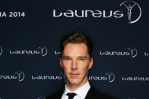KUALA LUMPUR, MALAYSIA - MARCH 26:  Actor Benedict Cumberbatch poses with the Laureus trophy during the 2014 Laureus World Sports Awards at the Istana Budaya Theatre on March 26, 2014 in Kuala Lumpur, Malaysia.  (Photo by Ian Walton/Getty Images for Laureus)
