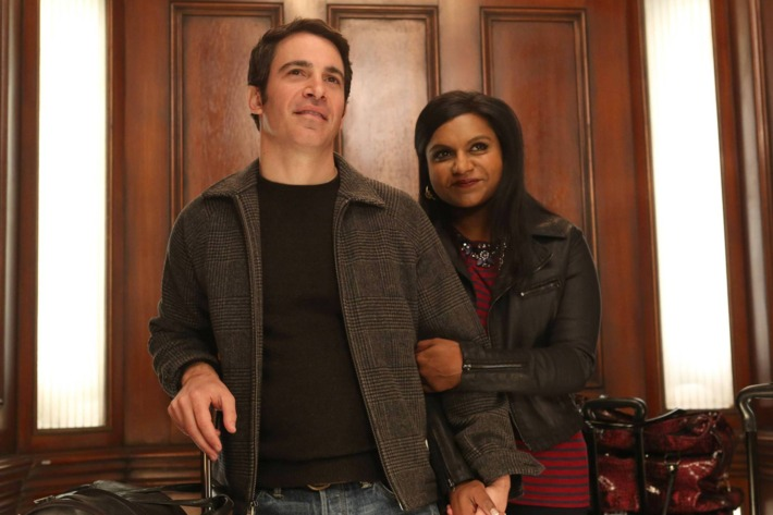 """THE MINDY PROJECT: Mindy (Mindy Kaling, R) and Danny (Chris Messina, L) return from Los Angeles in Part One of the one-hour """"French Me, You Idiot/Indian BBW"""" Spring Premiere episode of THE MINDY PROJECT airing at a special time Tuesday, April 1 (9:00-10:00 PM ET/PT) on FOX. ?2014 Fox. ?2014 Fox Broadcasting Co. Cr: Beth Dubber/FOX"""