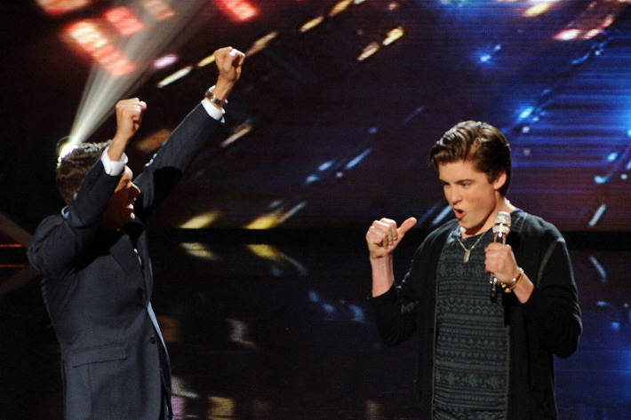 AMERICAN IDOL XIII: L-R: Host Ryan Seacrest and saved contestant Sam Woolf on AMERICAN IDOL XIII airing Thursday, April 3 (9:00-9:30 PM ET / PT) on FOX.