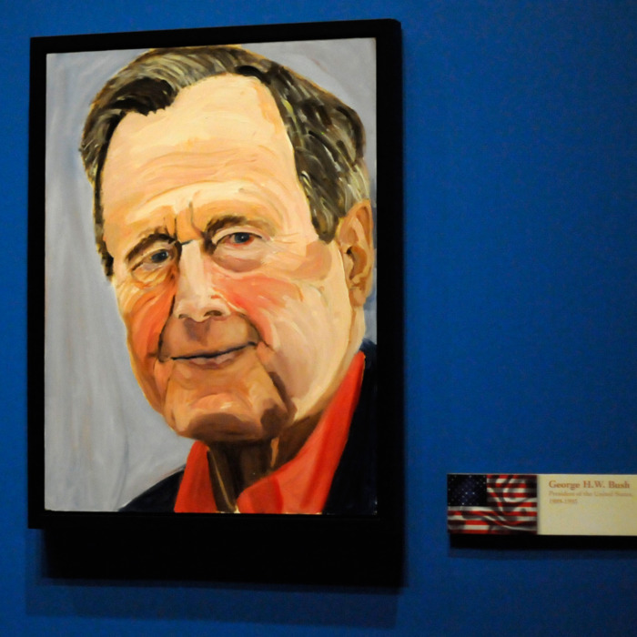 04 Apr 2014, Dallas, Texas, USA --- A portrait of former President George H.W. Bush painted by his son former President George W. Bush, which is part of the exhibit