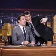 THE TONIGHT SHOW STARRING JIMMY FALLON -- Episode 0001 -- Pictured: (l-r) Host Jimmy Fallon and comedian Stephen Colbert on February 17, 2014 -- (Photo by: Lloyd Bishop/NBC/NBCU Photo Bank)