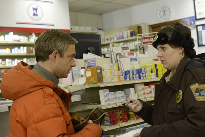 """FARGO """"The Rooster Prince"""" -- Episode 102 -- Airs Tuesday, April 22, 10:00 pm e/p) -- Pictured: (L-R) Martin Freeman as Lester Nygaard, Allison Tolman as Molly Solverson -- CR: Chris Large/FX"""