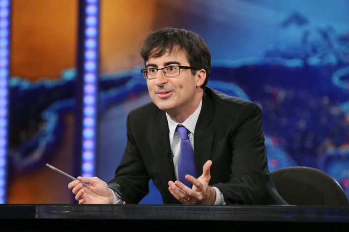 "NEW YORK, NY - JUNE 10:  John Oliver takes over as summer guest host of ""The Daily Show with Jon Stewart"" on June 10, 2013 in New York City.  (Photo by Neilson Barnard/Getty Images  for Comedy Central)"