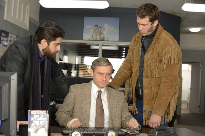 """FARGO """"A Muddy Road"""" -- Episode 103 -- Airs Tuesday, April 29, 10:00 pm e/p) -- Pictured: (L-R) Adam Goldberg as Mr. Numbers, Martin Freeman as Lester Nygaard, Russell Harvard as Mr. Wrench. -- CR: Chris Large/FX"""