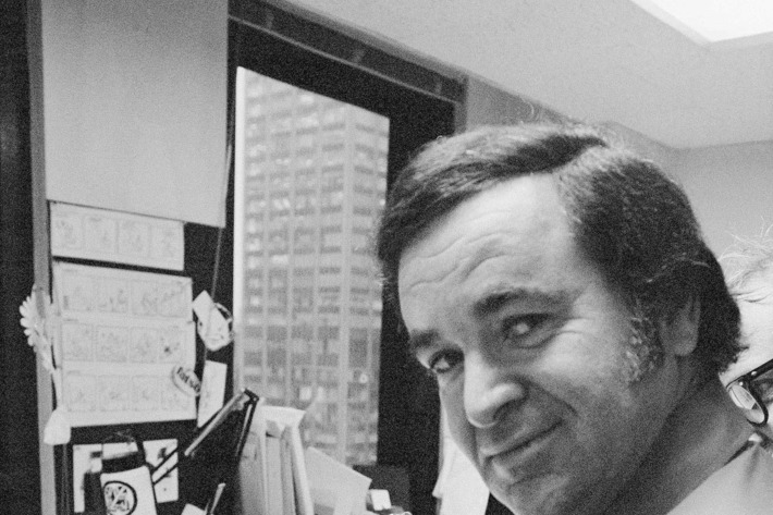 "In this 1972 file photo, ""Mad"" magazine editor Al Feldstein works on page layout in his office at the magazine's New York headquarters. Feldstein, whose 28 years at the helm of Mad transformed the satirical magazine into a pop culture institution, died Tuesday, April 29, 2014. He was 88."