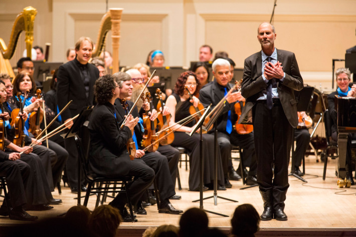 Ludovic Marlot conducts the Seattle Symphony at Carnegie Hall, 5/6/14. Photo by Chris Lee