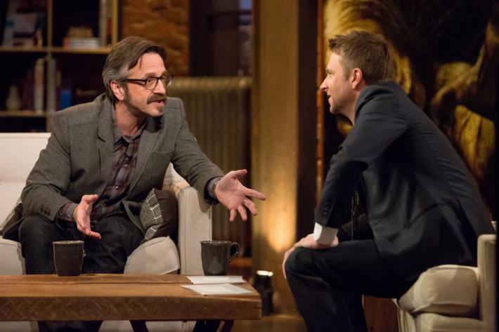 (L to R) Marc Maron, Chris Hardwick  - Maron 201 Episode 1: Marc on Talking Dead -Photo Photo Credit: Chris Ragazzo/IFC