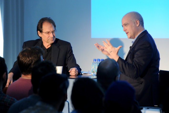 NEW YORK, NY - MAY 10:  Producer David Milch (L) and Film Critic Matt Zoller Seitz speak onstage during Vulture Festival presented by New York Magazine at Milk Studios on May 10, 2014 in New York City.  (Photo by Craig Barritt/Getty Images for New York Magazine)