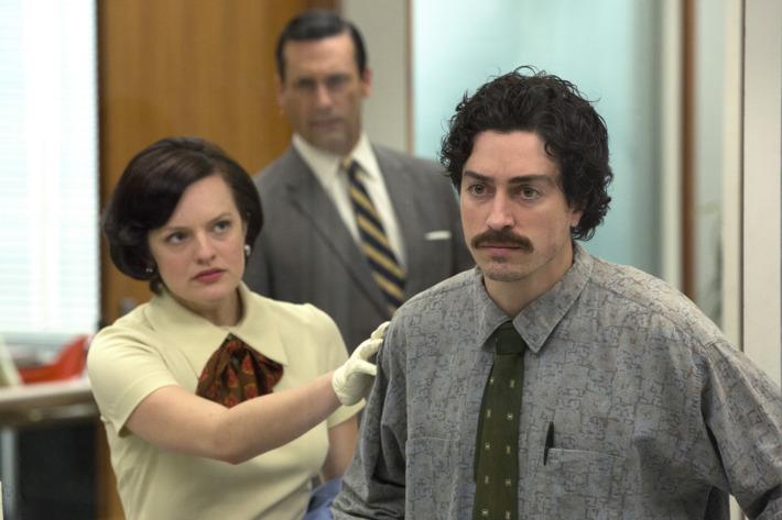 Elisabeth Moss as Peggy Olson, Jon Hamm as Don Draper and Ben Feldman as Michael Ginsberg - Mad Men _ Season 7, Episode 5 - Photo Credit: Michael Yarish/AMC