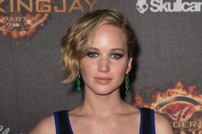"""CANNES, FRANCE - MAY 17:  Actress Jennifer Lawrence attends """"The Hunger Games: Mockingjay Part 1"""" party at the 67th Annual Cannes Film Festival on May 17, 2014 in Cannes, France.  (Photo by Ian Gavan/Getty Images)"""