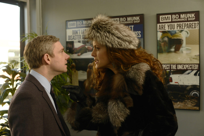 """FARGO """"The Heap"""" -- Episode 108 -- Airs Tuesday, June 3, 10:00 pm e/p) -- Pictured: (L-R) Martin Freeman as Lester Nygaard, Kate Walsh as Gina Hess -- CR: Chris Large/FX"""