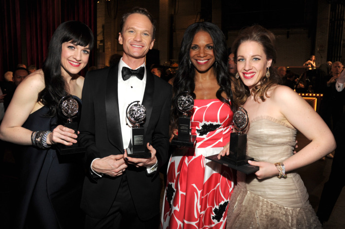NEW YORK, NY - JUNE 08:  Lena Hall, Neil Patrick Harris, Audra McDonald and Jessie Mueller attend the 68th Annual Tony Awards at Radio City Music Hall on June 8, 2014 in New York City.  (Photo by Kevin Mazur/Getty Images for Tony Awards Productions)