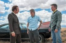 Bob Odenkirk as Saul Goodman, Peter Gould and Vince Gilligan - Better Call Saul _ Season 1, Episode 1 _ BTS - Photo Credit: Jacob Lewis/AMC