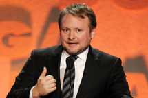 """LOS ANGELES, CA - FEBRUARY 02:  Director Rian Johnson accepts the Outstanding Directorial Achievement in Dramatic Series award for """"Breaking Bad"""" episode """"Fifty-One"""" onstage during the 65th Annual Directors Guild Of America Awards at Ray Dolby Ballroom at Hollywood & Highland on February 2, 2013 in Los Angeles, California.  (Photo by Kevin Winter/Getty Images)"""