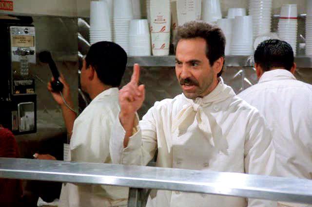Seinfeld (NBC)  Season 7, 1995-1996Episode: The Soup Nazi  Original Air Date: November 2, 1995Shown: Larry Thomas (as Soup Nazi)