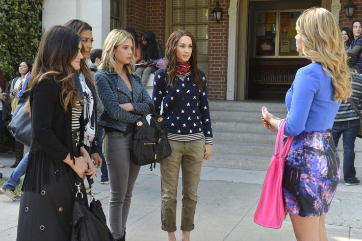 "PRETTY LITTLE LIARS - ""Miss Me x 100"" - Its Alison's first day back at Rosewood High and Mona and her army are ready in ""Miss Me x 100,"" the 100th episode of ABC Family's hit original series ""Pretty Little Liars,"" premiering Tuesday, July 8th (8:00 - 9:00 PM ET/PT). (ABC FAMILY/Eric McCandless)LUCY HALE, SHAY MITCHELL, ASHLEY BENSON, TROIAN BELLISARIO, SASHA PIETERSE"