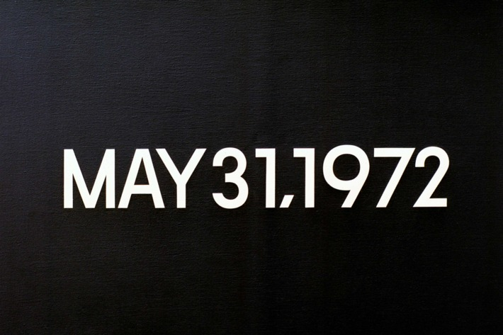 """Kawara, On; Japanese artist; born 1933.-""""May 31, 1972"""" (Israeli Leaders called today for a boycott of Beirut by international airlines). Today series, no. 43, 1972. Liquitex on canvas, 45.5 x 61.5 cm. FER Collection, Ulm, Germany."""
