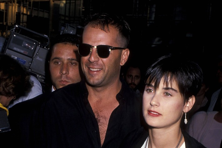 """Actor Bruce Willis and actress Demi Moore attend the """"When Harry Met Sally"""" Beverly Hills Premiere on July 13, 1989 at the Samuel Goldwyn Theatre in Beverly Hills, California."""