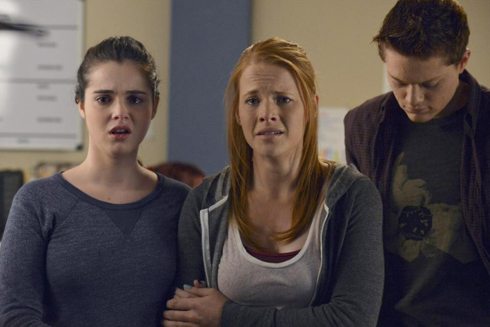 """SWITCHED AT BIRTH - """"The Image Disappears"""" - A terrible accident has left someone in the hospital in an all-new episode of """"Switched at Birth,"""" airing Monday, July 14 at 8:00PM ET/PT on ABC Family. (ABC FAMILY/Eric McCandless)VANESSA MARANO, KATIE LECLERC, SEAN BERDY"""