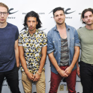 "NEW YORK, NY - JULY 11:  Alex Tanas, Nasri Atweh, Mark Pellizzer and Ben Spivak of MAGIC! visit ""You & A"" at Music Choice on July 11, 2014 in New York City.  (Photo by Jenny Anderson/Getty Images)"