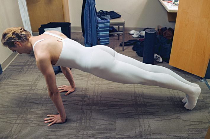 Ballet star David Hallberg prepares in his dressing room before his performance of Black Swan with the Bolshoi Ballet Company at Lincoln Center