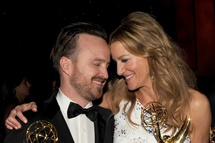 LOS ANGELES, CA - AUGUST 25:  Actors Aaron Paul (L), winner of the award for Outstanding Supporting Actor in a Drama Series, and Anna Gunn, winner of the award for Outstanding Supporting Actress in a Drama Series, for the show 'Breaking Bad', attend the 66th Annual Primetime Emmy Awards Governors Ball held at Los Angeles Convention Center on August 25, 2014 in Los Angeles, California.  (Photo by Kevin Winter/Getty Images)