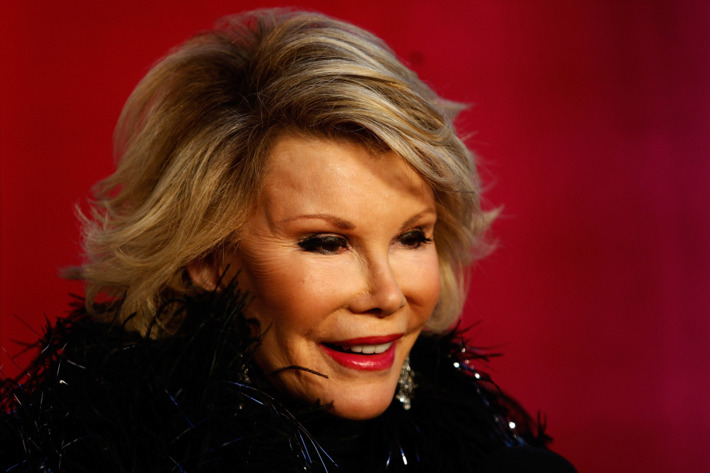 """SYDNEY, AUSTRALIA - MARCH 07:  American personality Joan Rivers participates during the annual Sydney Gay and Lesbian Mardi Gras Parade on Oxford Street on March 7, 2009 in Sydney, Australia. The annual parade, which has been going since June 1978, has a 2009 theme of """"Nations United"""", with the event's intention to raise the visibility of the gay, lesbian, bisexual, transgender, intersex and queer communities.  (Photo by Brendon Thorne/Getty Images) *** Local Caption *** Joan Rivers"""