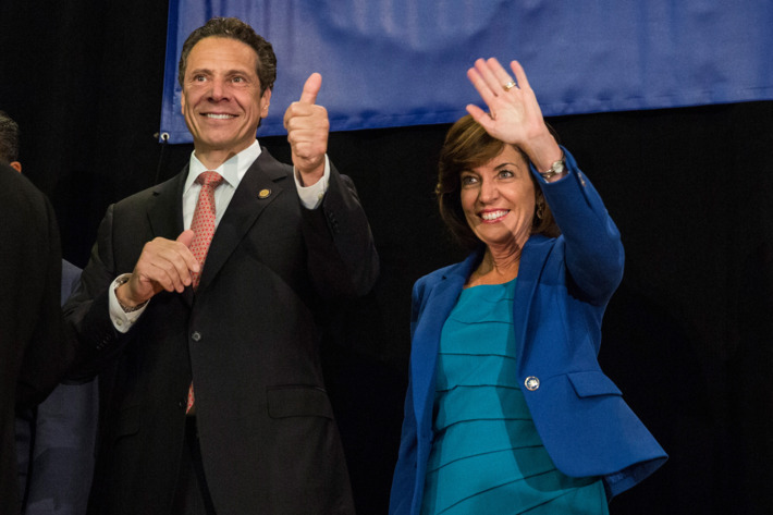NEW YORK, NY - SEPTEMBER 08: New York Governor Andrew Cuomo (L) and his choice for Lieutenant Governor, former congresswoman Kathy Hochul, campaign together at the Hotel Trade Council during a reelection campaign event on September 8, 2014 in New York City. New York State voters will vote in the primary election tomorrow, September 9; Governor Cuomo is hoping to beat out unexpected challenger Zephyr Teachout to gain the democratic bid. (Photo by Andrew Burton/Getty Images)