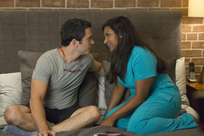 """THE MINDY PROJECT:  Mindy (Mindy Kaling, R) and Danny (Chris Messina, L) spend time together in the """"We're A Couple Now, Haters"""" season premiere episode of THE MINDY PROJECT airing Tuesday, Sept. 16 (9:30-10:00 PM ET/PT) on FOX.  ?2014 Fox Broadcasting Co.  Cr:  Isabella Vosmikova/FOX"""
