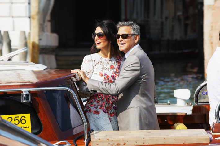 VENICE, ITALY - SEPTEMBER 28:  Actor George Clooney and Amal Alamuddin sighting at Canal Grande on September 28, 2014 in Venice, Italy.  (Photo by Ernesto Ruscio/GC Images)