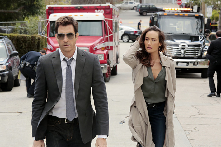 """Pilot"" -- STALKER stars Maggie Q and Golden Globe Award winner Dylan McDermott in a psychological thriller about detectives who investigate stalking incidents -- including voyeurism, cyber harassment and romantic fixation -- for the Threat Assessment Unit of the LAPD.  Det. Jack Larsen (McDermott) and Lt. Beth Davis (Maggie Q)  assess the threat level of victims and respond before the stalking and intimidation spirals out of control, all while trying to keep their personal obsessions at bay. STALKER premieres Wednesday, Oct. 1 (10:00 PM -- 11:00 PM ET/PT) on the CBS Television Network. Pictured: Dylan McDermott and Maggie Q  Photo: Richard Cartwright/CBS  ?'??2014 CBS Broadcasting, Inc. All Rights Reserved"