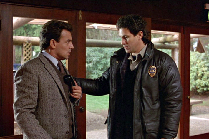 TWIN PEAKS. Ray Wise as Leland Palmer and Michael Ontkean as Sheriff Harry S. Truman in the pilot episode.  Originally aired April 8, 1990.   Copyright ?1990 CBS Broadcasting Inc. All Rights Reserved. Credit: CBS Photo Archive.  Image is a framegrab.